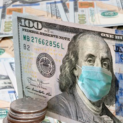 $100 bill with masked Ben Franklin