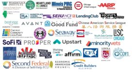 logos from some of more than 100 orgs that support SB1792 predatory loan prevention act