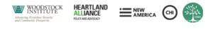 Logos for Woodstock Institute, New America Chicago, Heartland Alliance, IABG