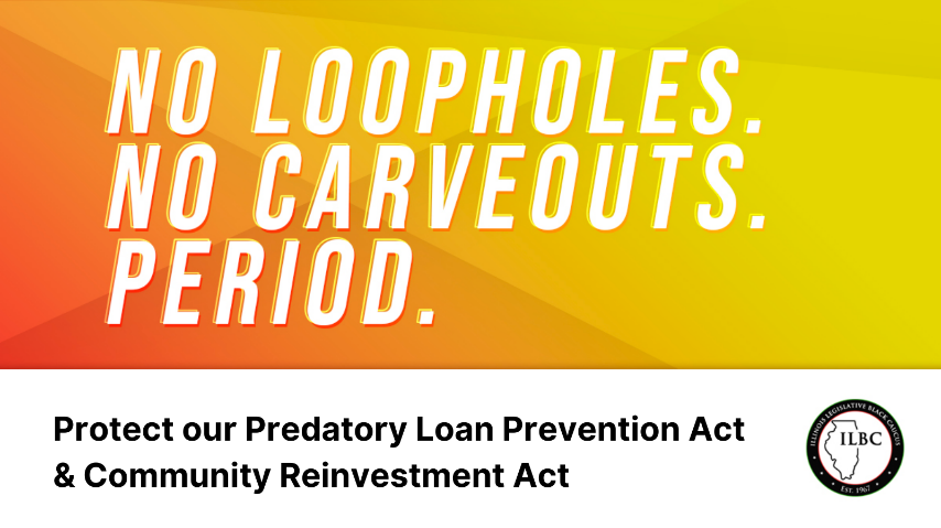 """""""No Loopholes No Carveouts"""" graphic statement"""