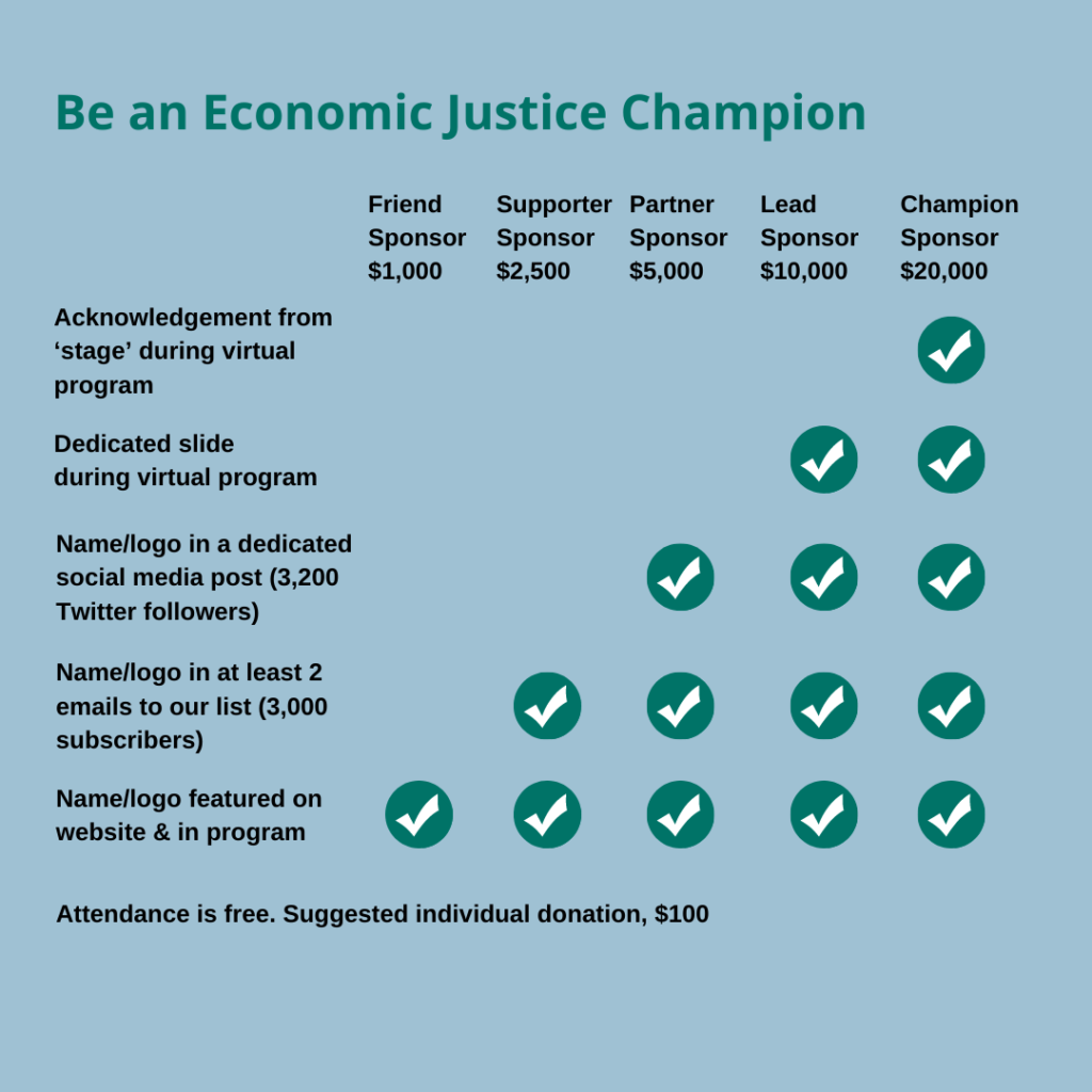 Awards levels grid for 2021 Economic Justice Awards