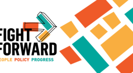 "Logo for 2021 Assocation Neighborhood Development conference ""Fight forward"""