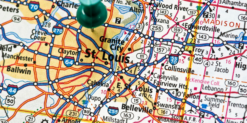 map of St. Louis metro area